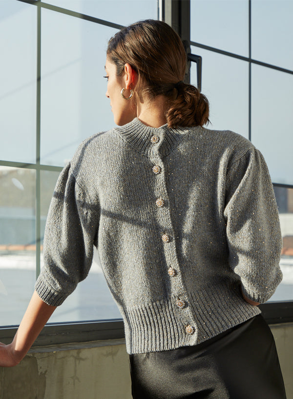 Autumn Cashmere - Sequin Reversible Puff Sleeve Cardigan - Granite