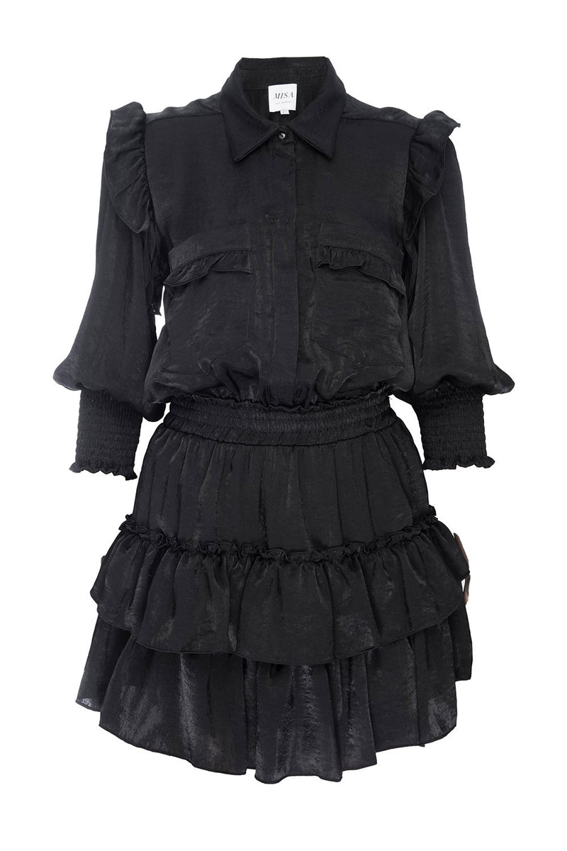 Misa - Riona Dress - Black Satin
