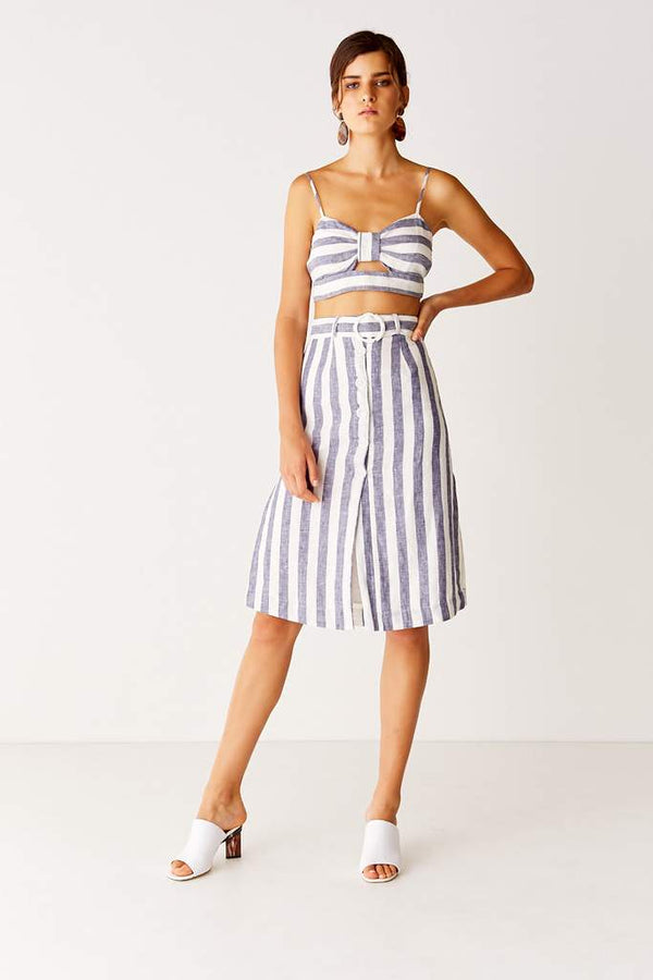 SUBOO - NEWPORT MIDI SKIRT - NAVY STRIPE