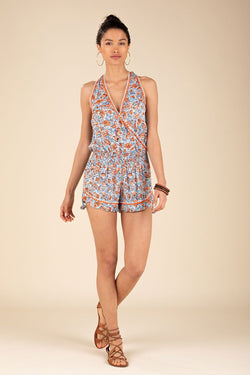 Poupette St. Barth - Short Jumpsuit Jena Sleeveless  Blue Rose