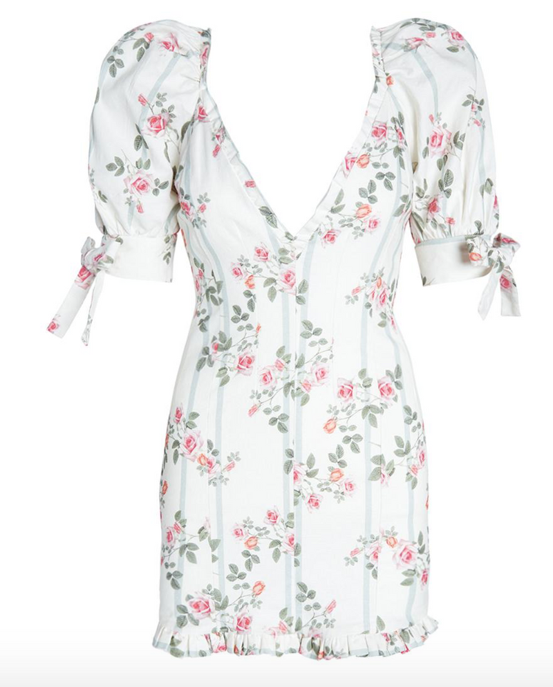 For Love & Lemons Rose Stripe Mini Dress
