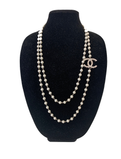 Suzy T Designs - Vintage Chanel Broach on Pearls - Silver
