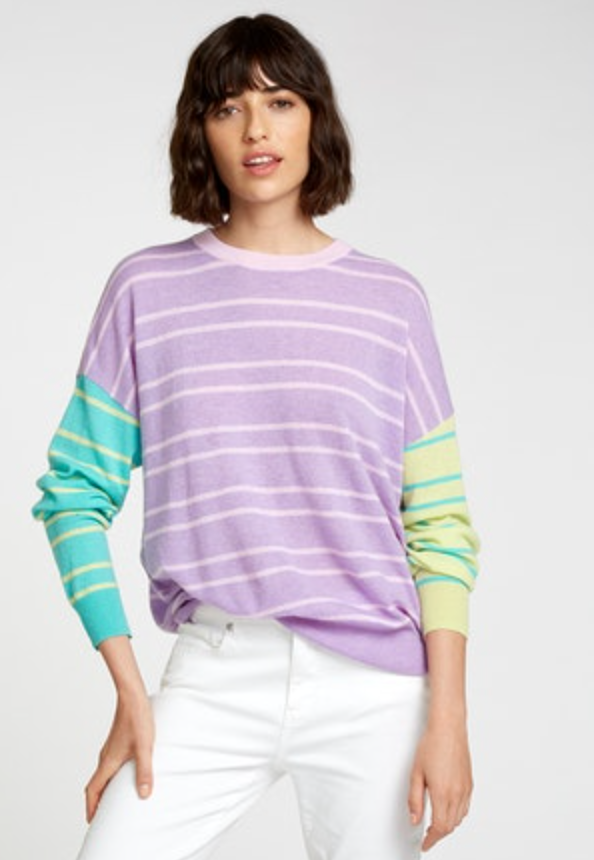 Autumn Cashmere - Boyfriend Color Block Stripe Crew - Pastel Multi
