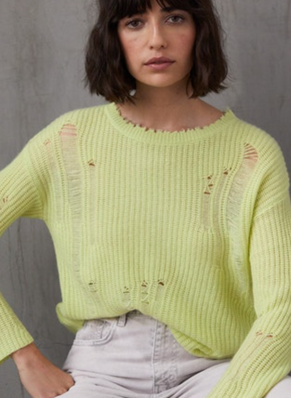 Autumn Cashmere - Distressed Shaker Crew - Glowstick