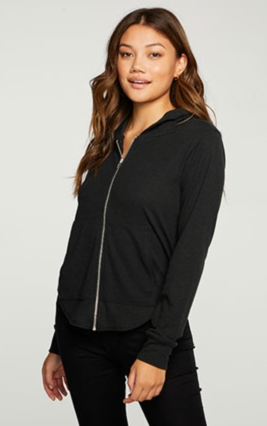 Chaser - Linen Rib Long Sleeve Shirttail Zip Up Hoodie In Multiple Colors