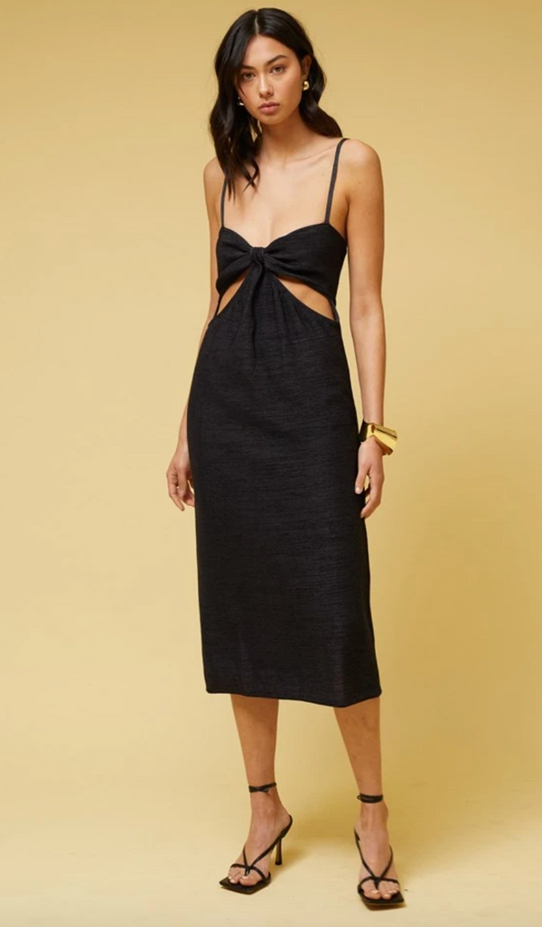 Suboo - Dominique Cut Out Midi Dress - Black Metallic