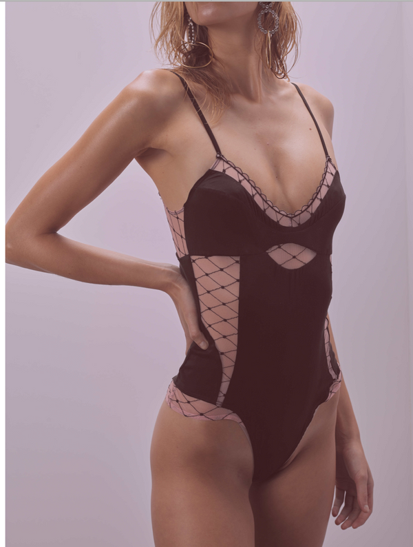 For Love & Lemons - Burlesque Fishnet Bodysuit - Black/Nude