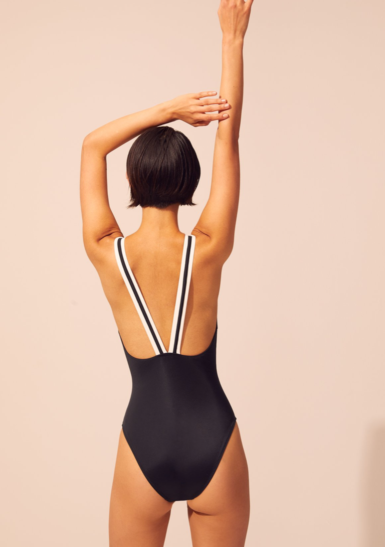 Solid & Striped - The Lucy One Piece - Black Colorblocked