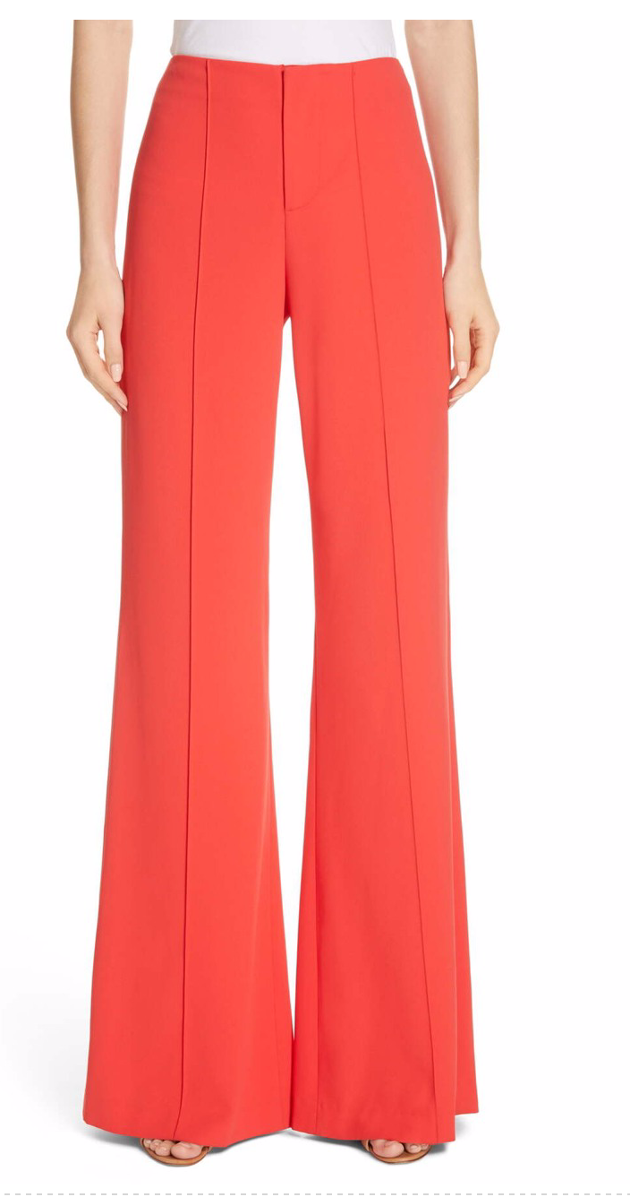 Alice + Olivia -Dylan Clean H/W Wide Leg Pant - Bright Poppy