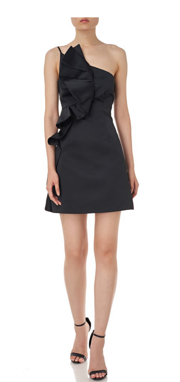 AMUR - Hallie Asymmetric Ruffle Mini  Dress - Black
