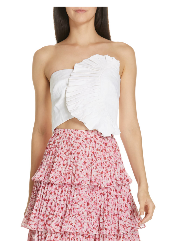 AMUR - Kylie Ruffle Bustier Top - White