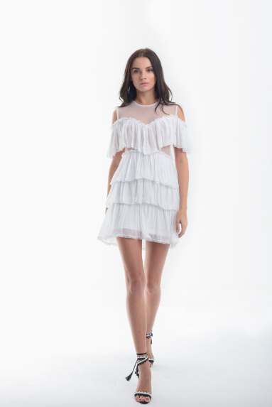 Karina Grimaldi- Manantiales Solid Mini Dress- White