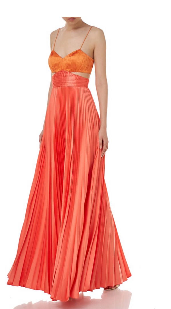 AMUR - Elodie Cutout Pleated Dress - Coral Orange