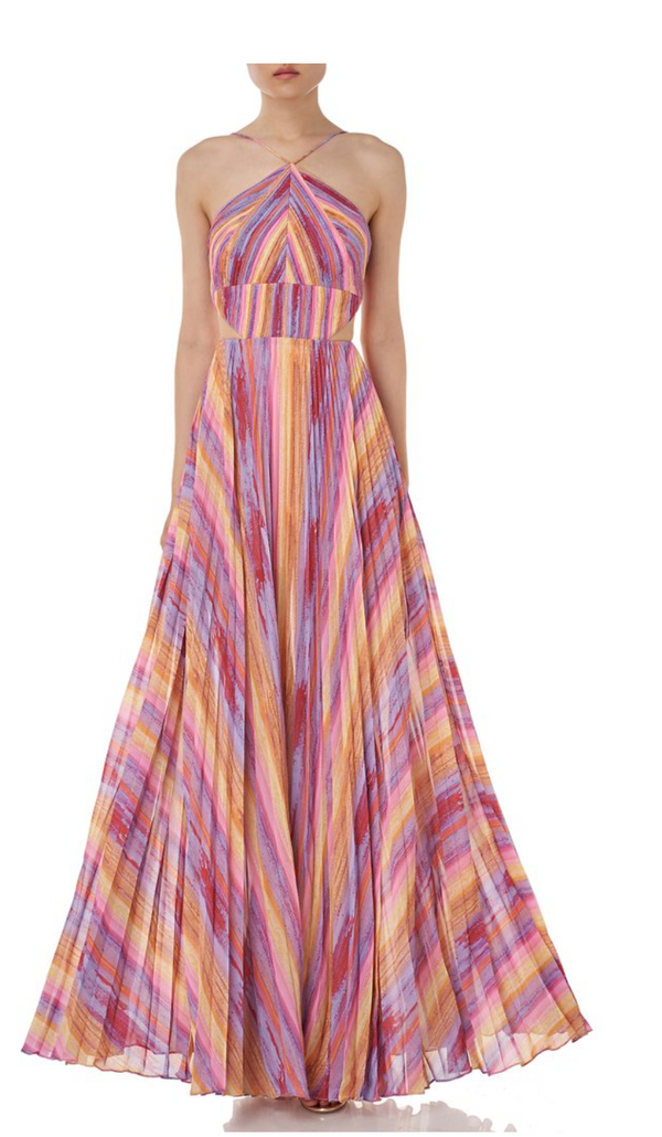 AMUR - Janet Cutout Pleated Evening Dress - Multi