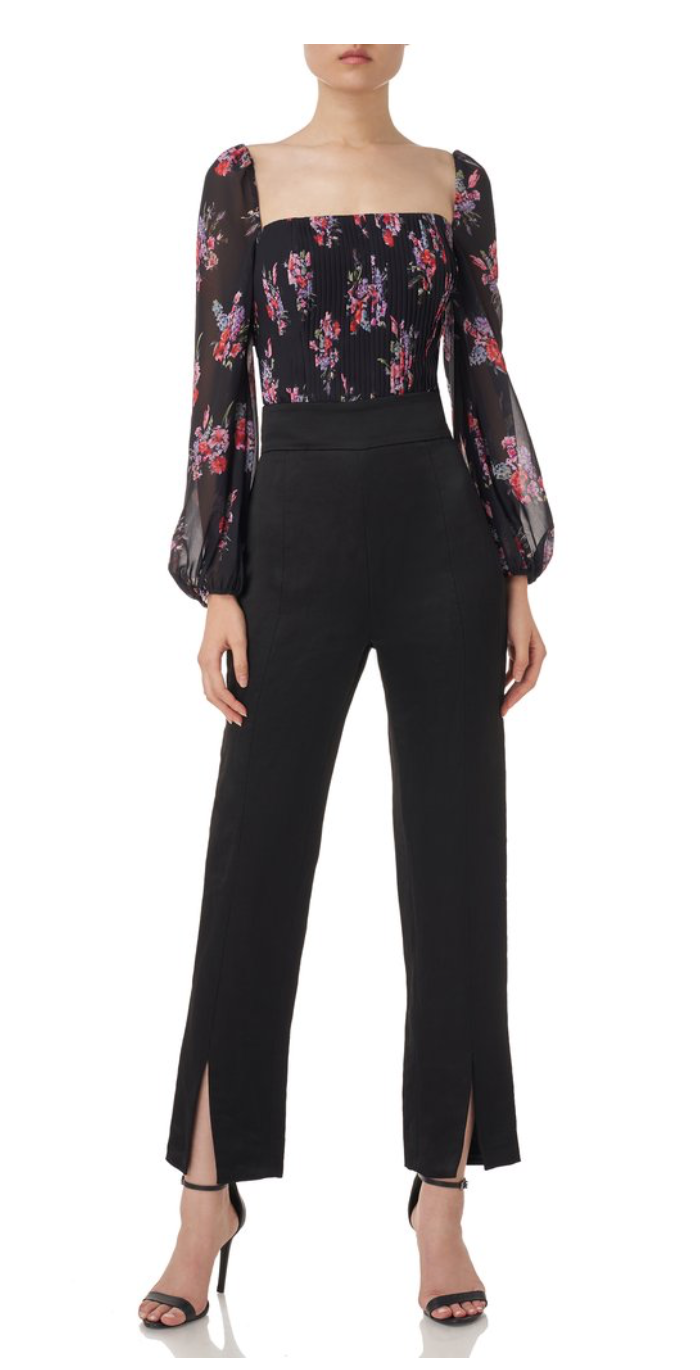 AMUR - Beverly Floral Puff Sleeve Top - Black