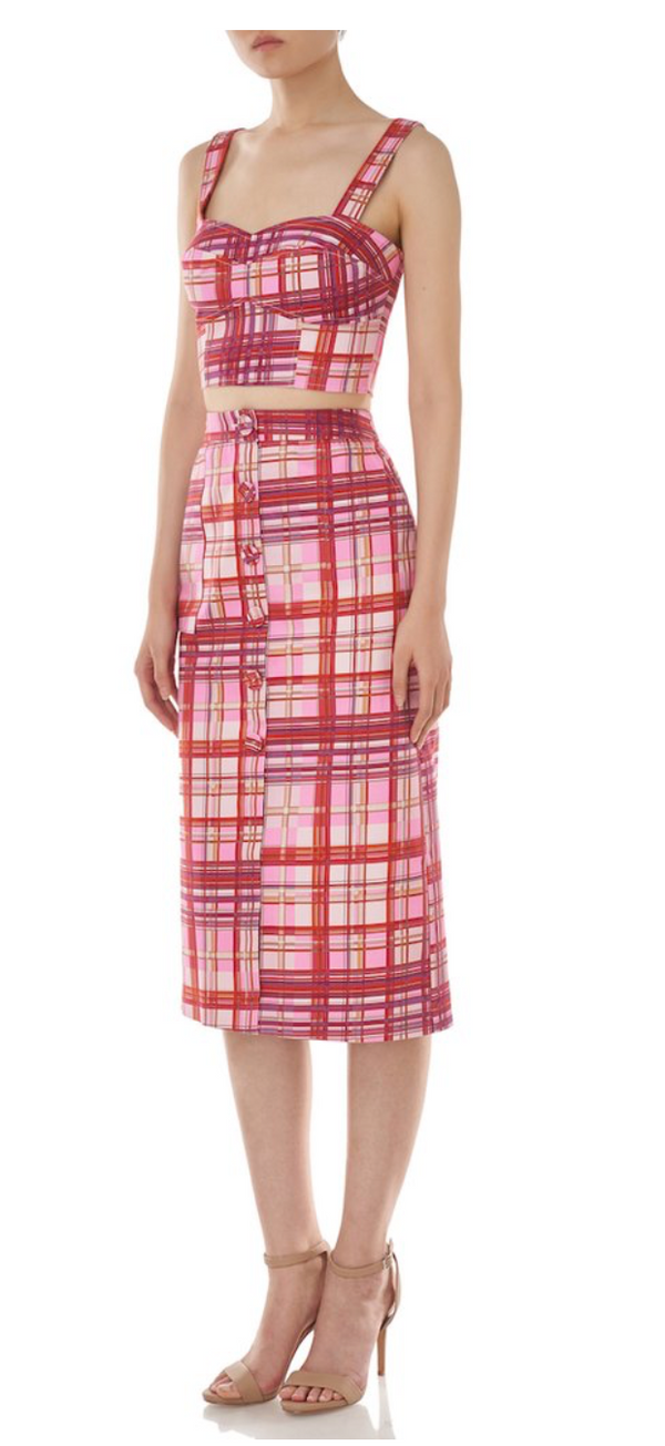 AMUR - Shawn Midi Skirt - Red/Pink Plaid