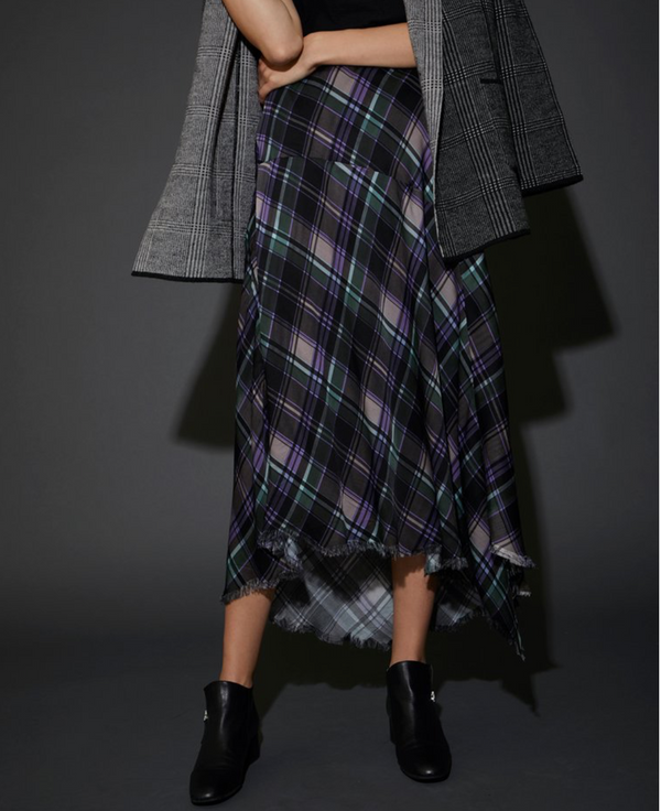 Nation - GEORGETTE PLAID HANDKERCHIEF Skirt - Plaid