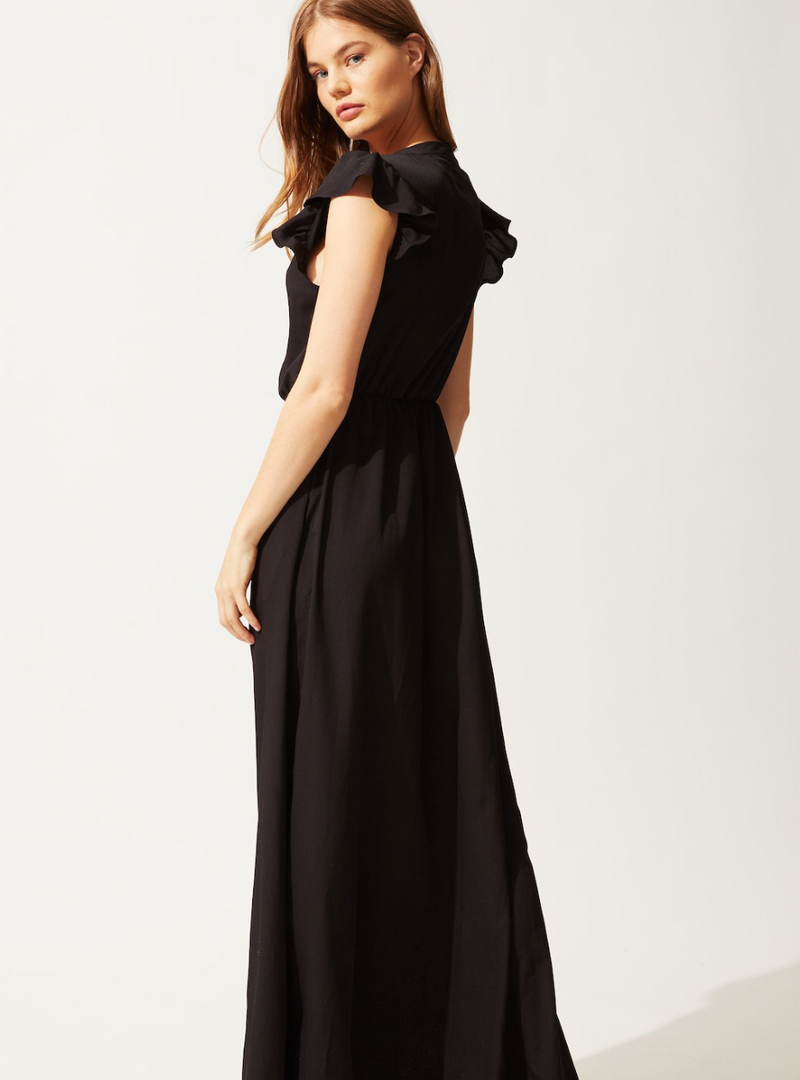 Solid & Striped - RUFFLE MAXI DRESS BLACK