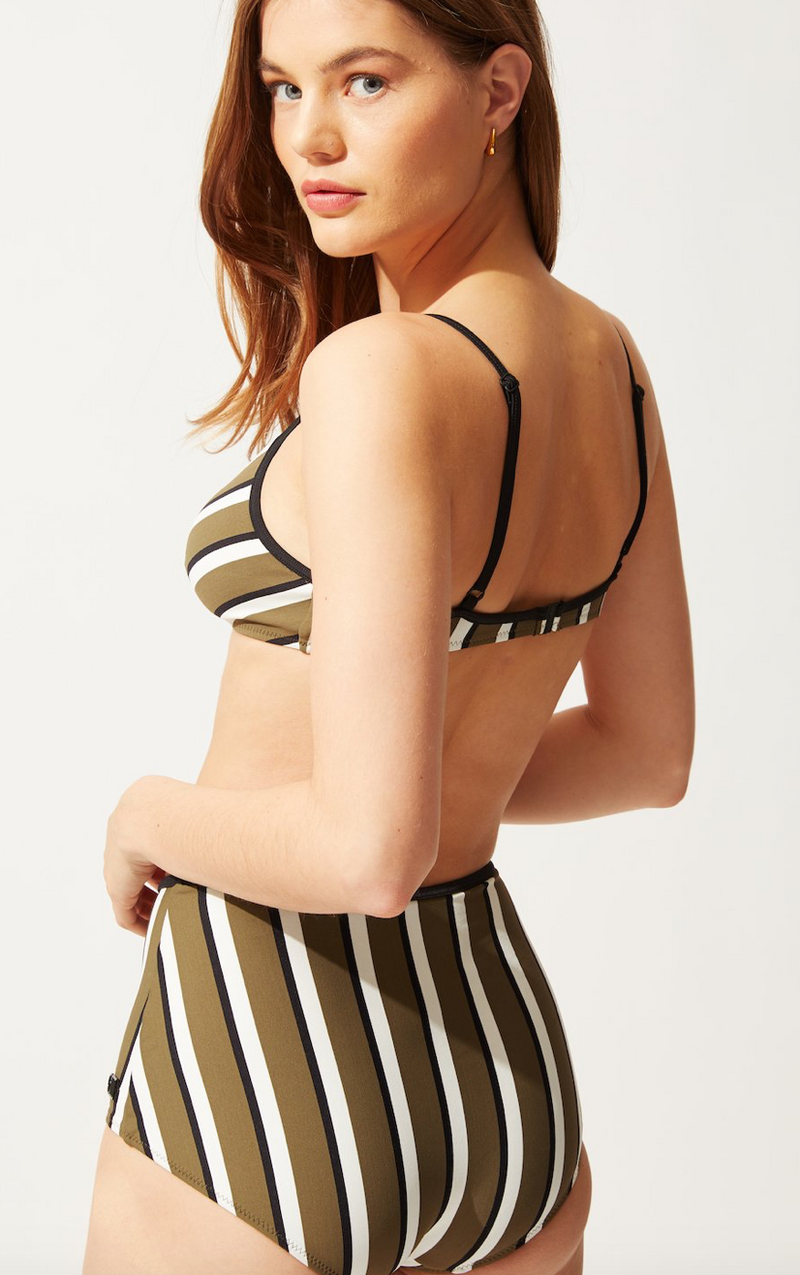 Solid & Striped - THE BRIGITTE TOP OLIVE/CREAM/BLACK STRIPE