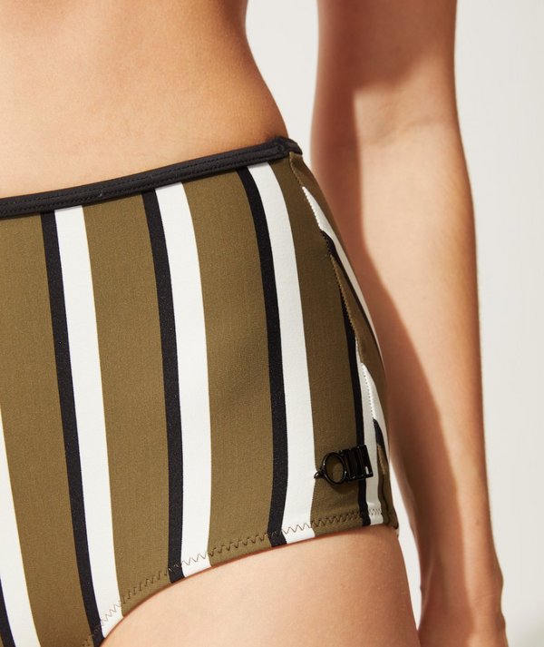 Solid & Striped - THE BRIGITTE BOTTOM OLIVE/CREAM/BLACK STRIPE