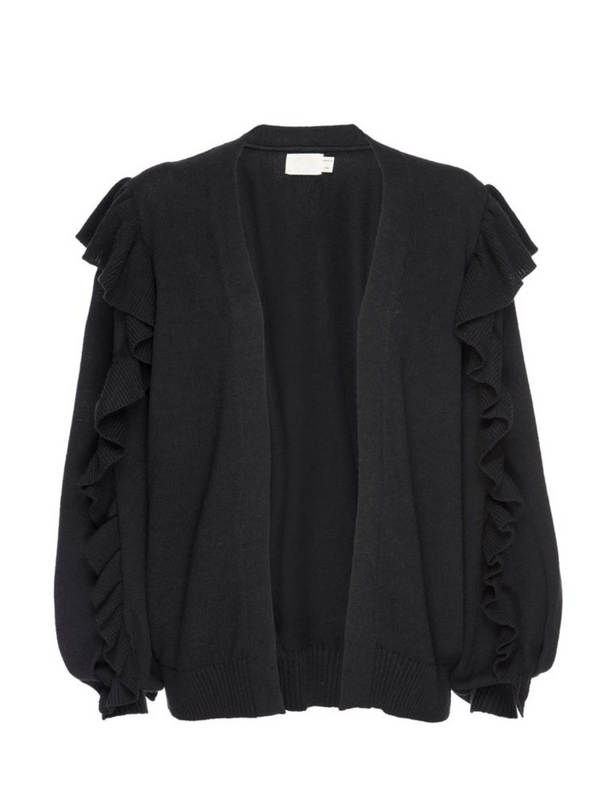 Nation - Clio Ruffled Cardigan - Black