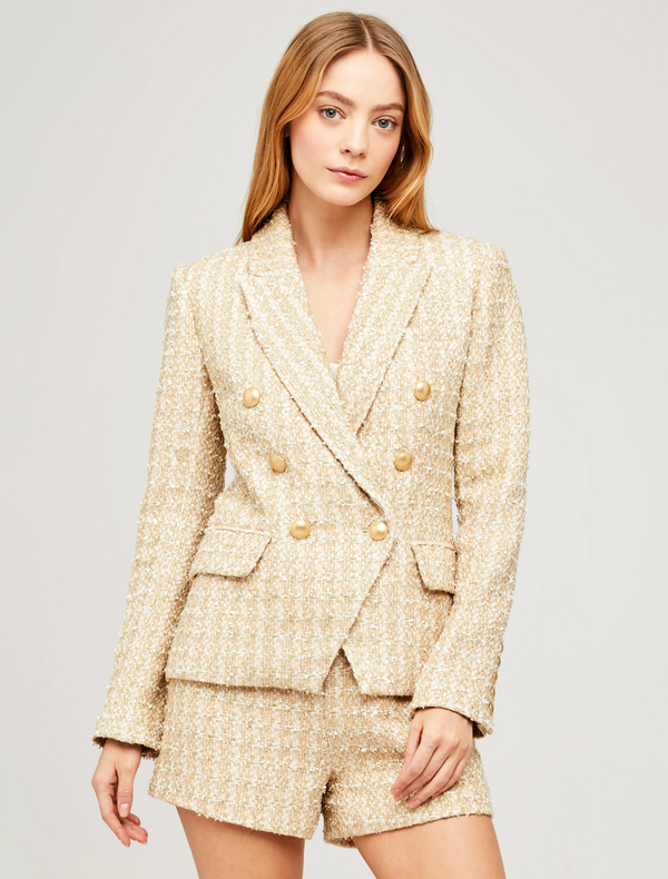L'Agence Kenzie Tweed Blazer - Rose Gold