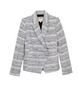 L'Agence Kenzie Double Breasted Blazer - Ivory/Grey