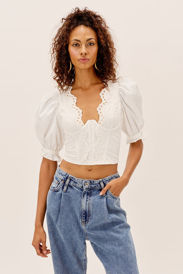 For Love & Lemons - Serena Crop Top - White