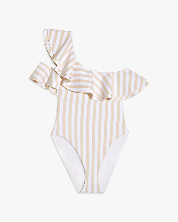 Shop WeWoreWhat - Stella One Piece - Macro Stripe Shortbread