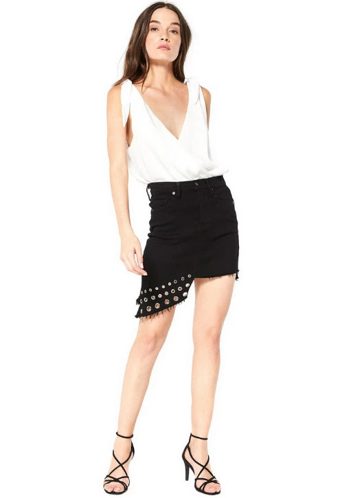 Misa - Super Star Asymmetrical Mini Skirt - Black