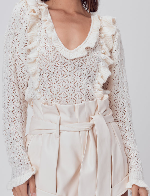 For Love & Lemons - Pearl V Neck Cropped Sweater - Ivory