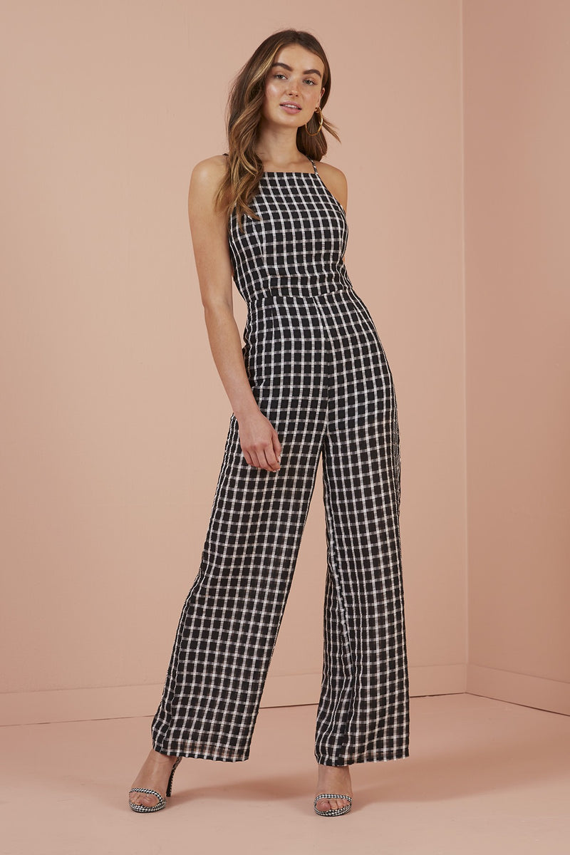 FINDERS KEEPERS - PICNIC PANTSUIT - BLACK W/ WHITE
