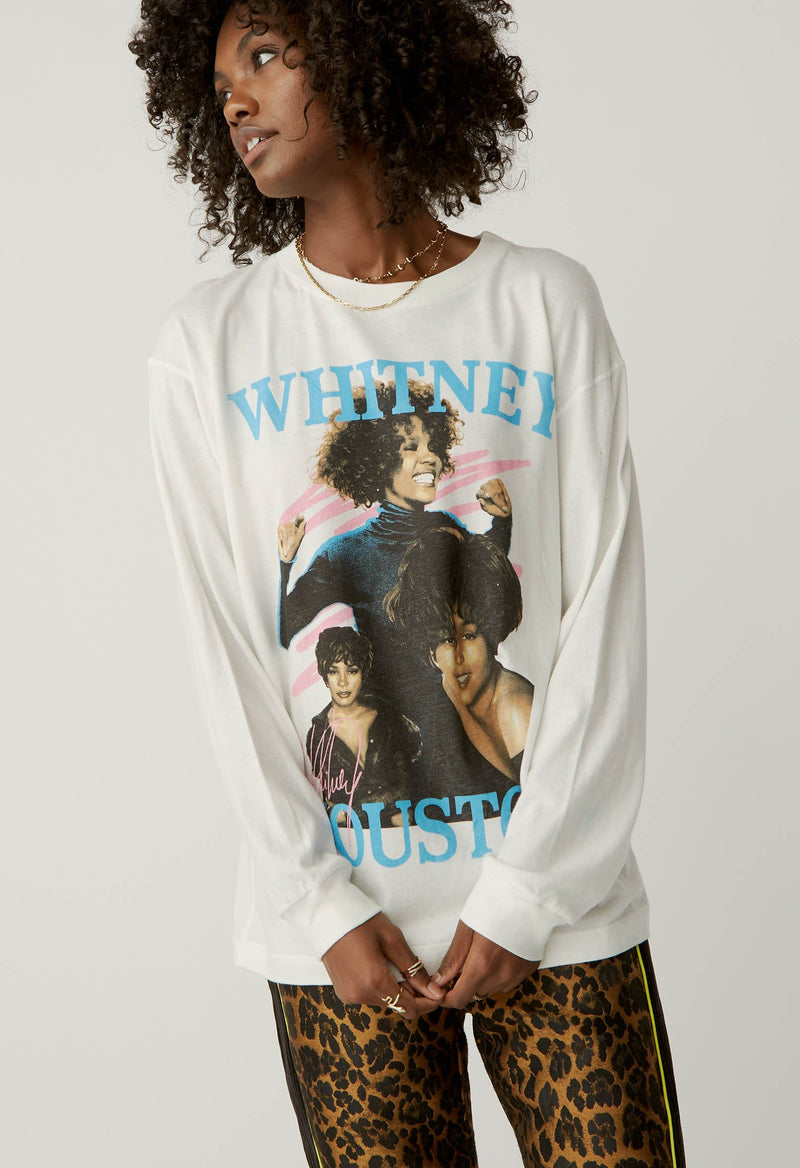 Daydreamer - Whitney Houston Dance with Somebody Long Sleeve - Vintage White
