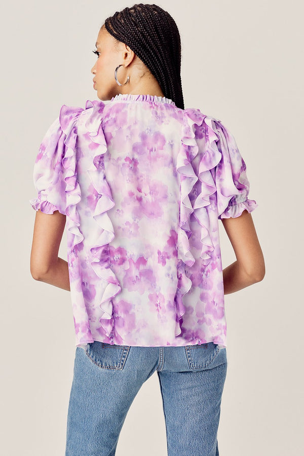 For Love & Lemons Zinna Ruffle Blouse - purple