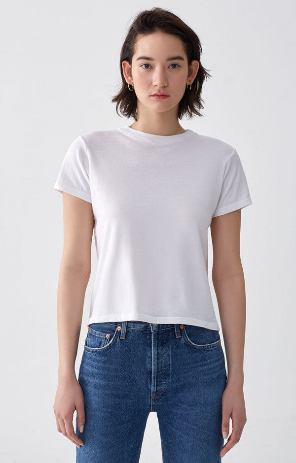 Agolde - Cropped Baby Tee - White