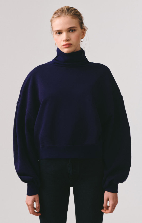 AGOLDE - Balloon Sleeve Turtleneck Sweatshirt - Navy