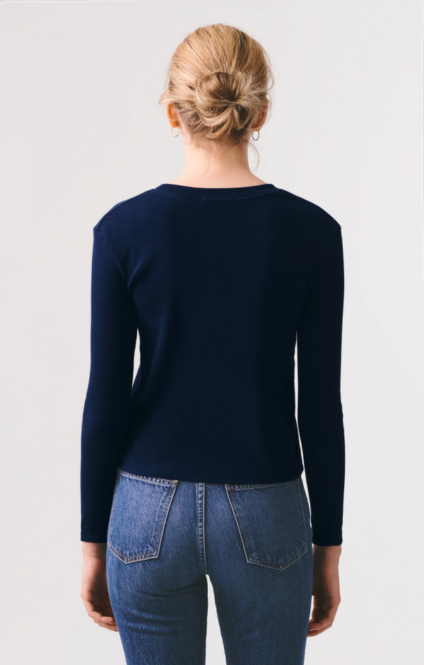 AGOLDE - Long Sleeve Crew Neck Ribbed Top - Arctic