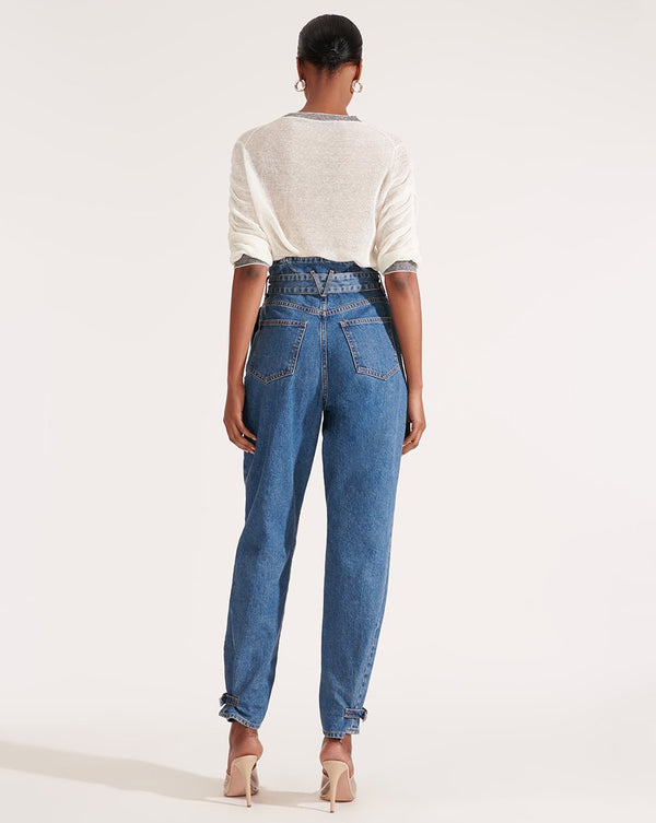 Veronica Beard - Addie Paperbag High Rise Tapered Jeans - Beacon