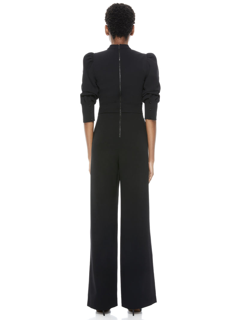 Alice & Olivia - Alexis Mock Neck Tie Waist Jumpsuit - Black