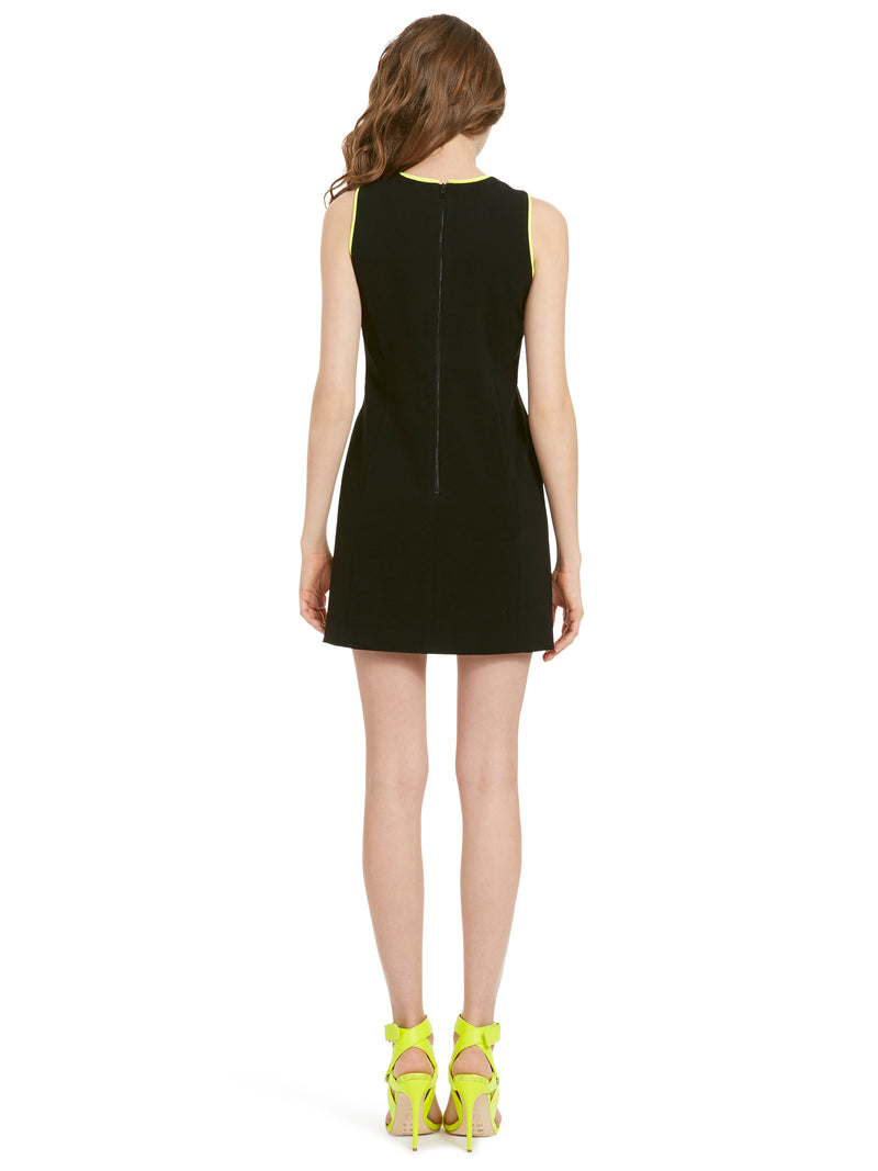 Alice + Olivia - Colin Colorblock Sleeveless Crew Neck Dress - Black/Neon Yellow