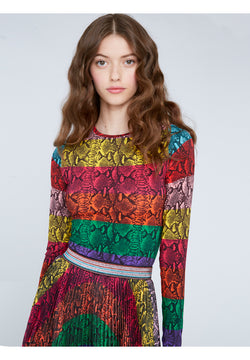 Alice + Olivia - Delaina Crop Top - Rainbow Snake Stripe