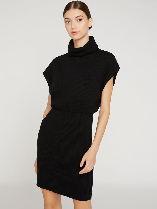 ALICE + OLIVIA - HAILEE TURTLENECK MINI DRESS - BLACK
