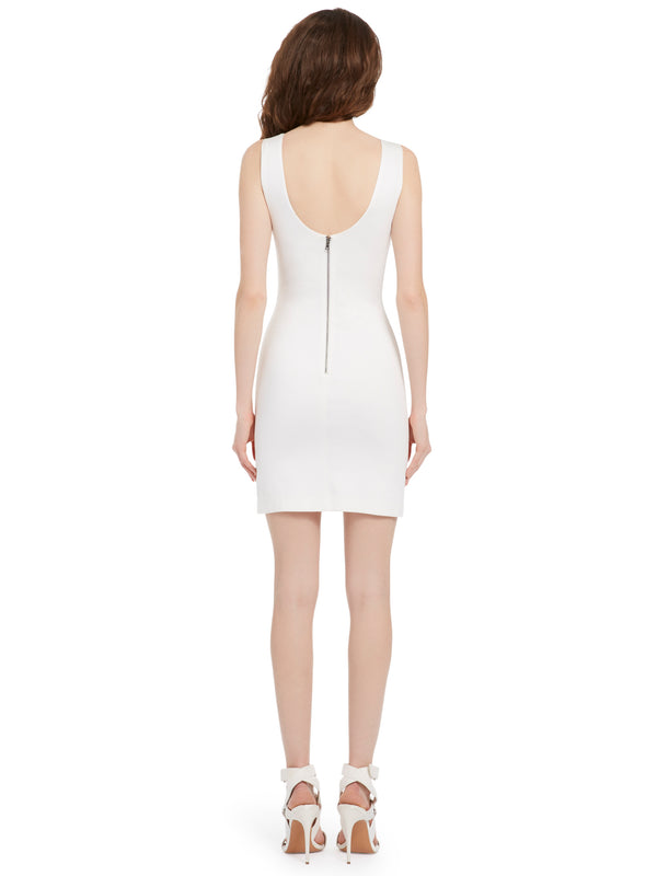 Alice + Olivia - James Fitted Scoop Neck Dress - Off White