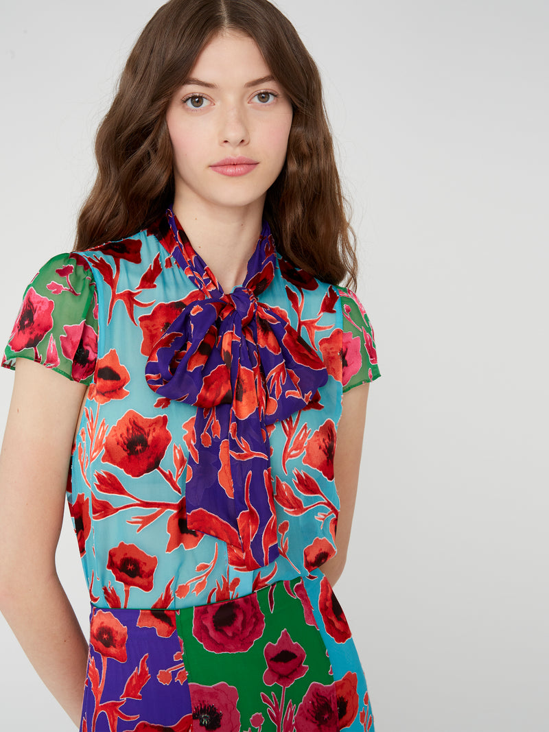 Alice + Olivia - Jeannie Bow Top - Poppy Garden