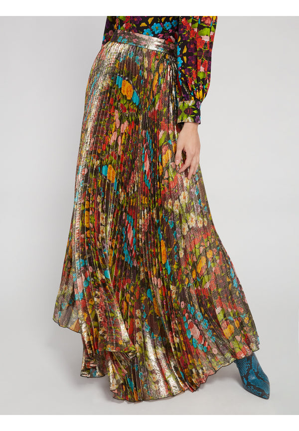 Alice + Olivia - Katz Sunburst Pleated Maxi Skirt - Kaleidoscope