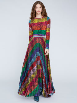 Alice & Olivia - Katz Sunburst Pleated Maxi Skirt - Rainbow Snake