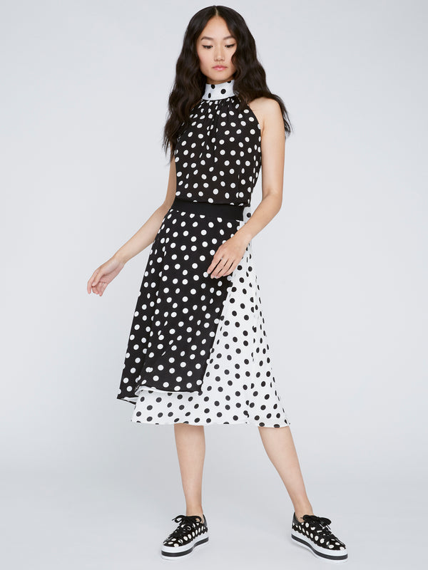 Alice + Olivia - Liana Bow Neck Top - Polka Dot Black/Soft White