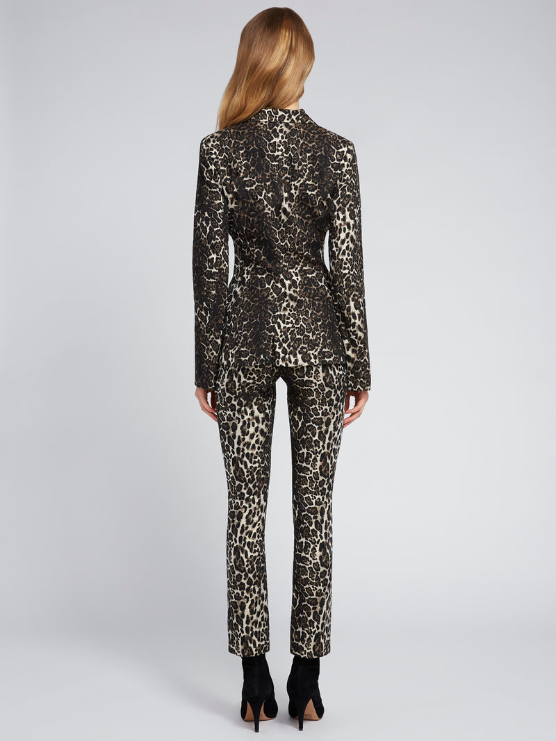 Alice + Olivia - Toby Fitted Angled Front Blazer - Leopard