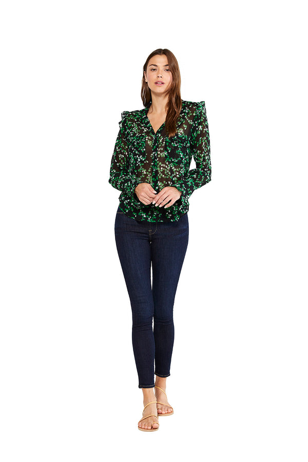 Misa - Anita Top - Green Mini Blooms
