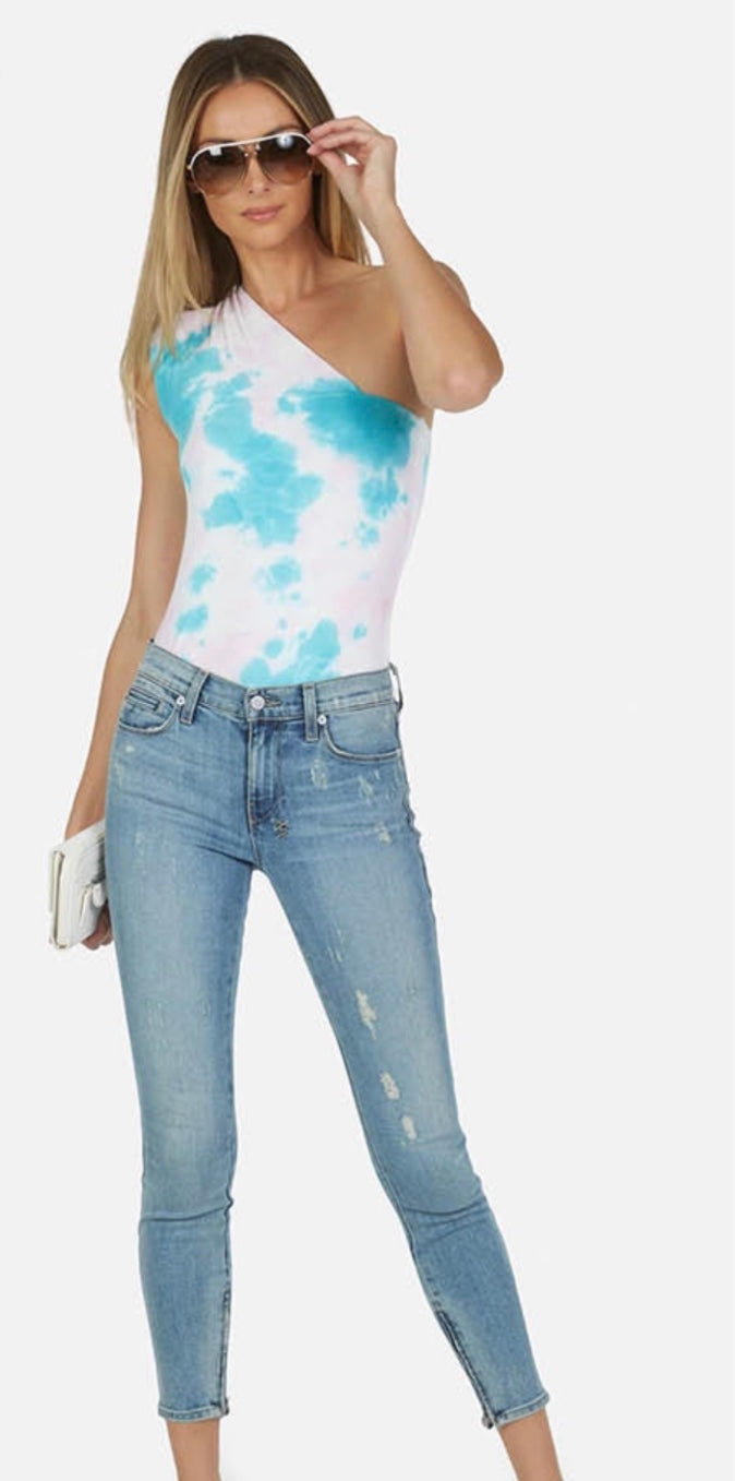 Michael Lauren - Atwood One Shoulder Tank - Pink Turquoise Tie Dye